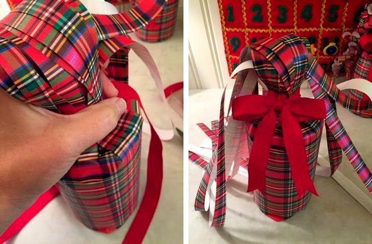 новогодняя упакова бутылки в подарок из бумаги 06