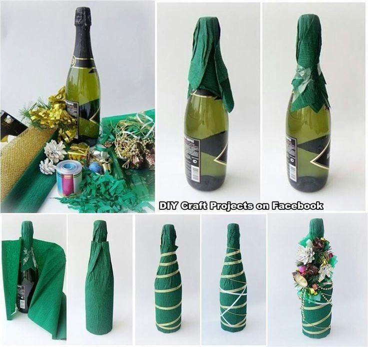 как упаковать бутылку в гофрированную бумагу