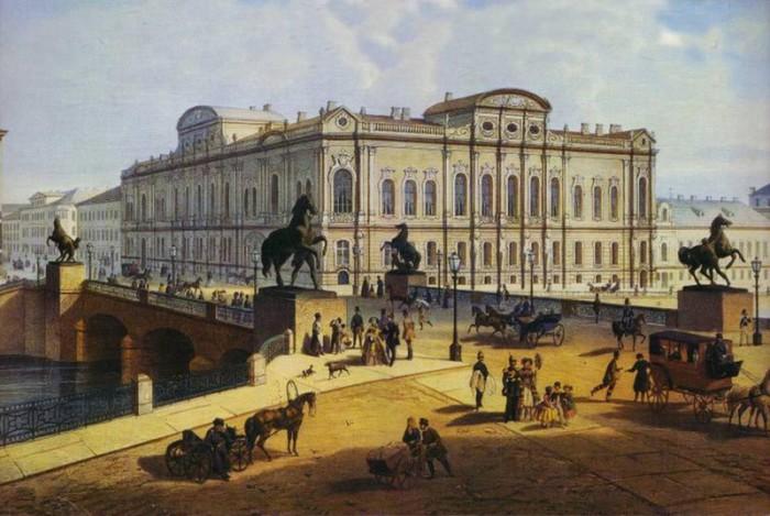 Аничков мост в 1840-х годах.