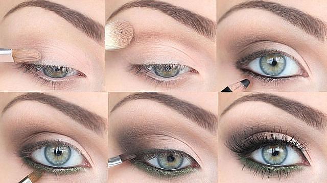 Макияж с пошаговым для серых глаз