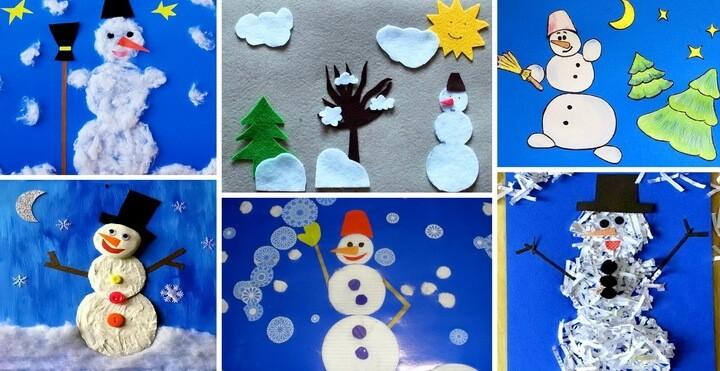 Аппликации снеговиков: лучшие идеи