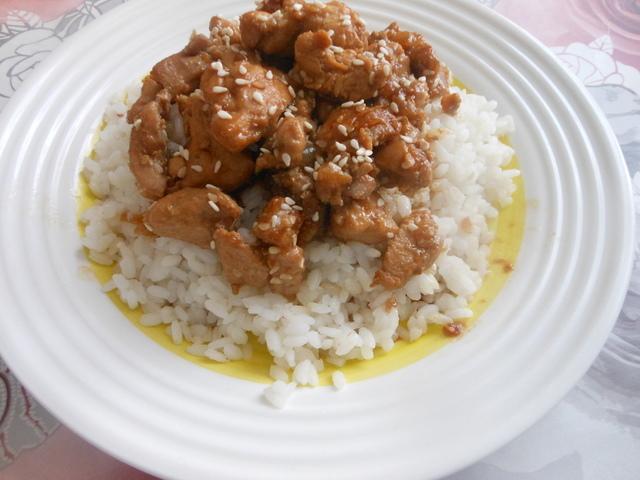 Фото к рецепту: Курица с рисом в соусе терияки