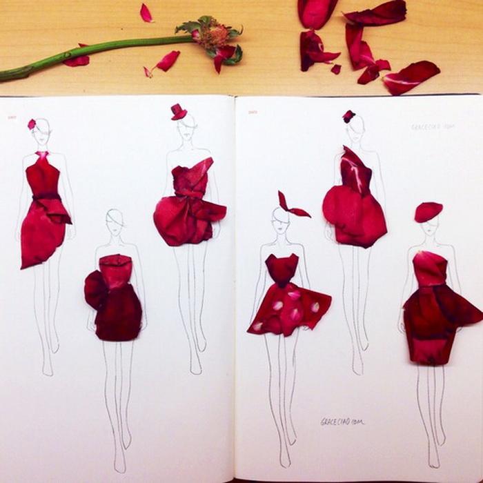 d38871e8936 Эскизы платьев из цветочных лепестков  необычные наряды от ...