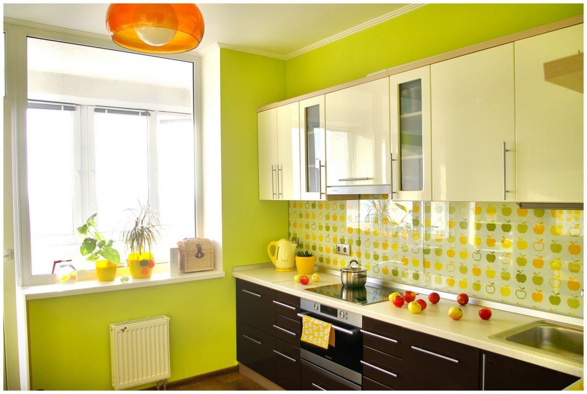 Зеленые стены на кухне фото