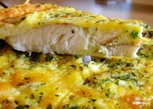 Треска со сметаной и сыром