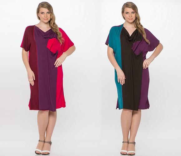 Однотонные платья для полных женщин