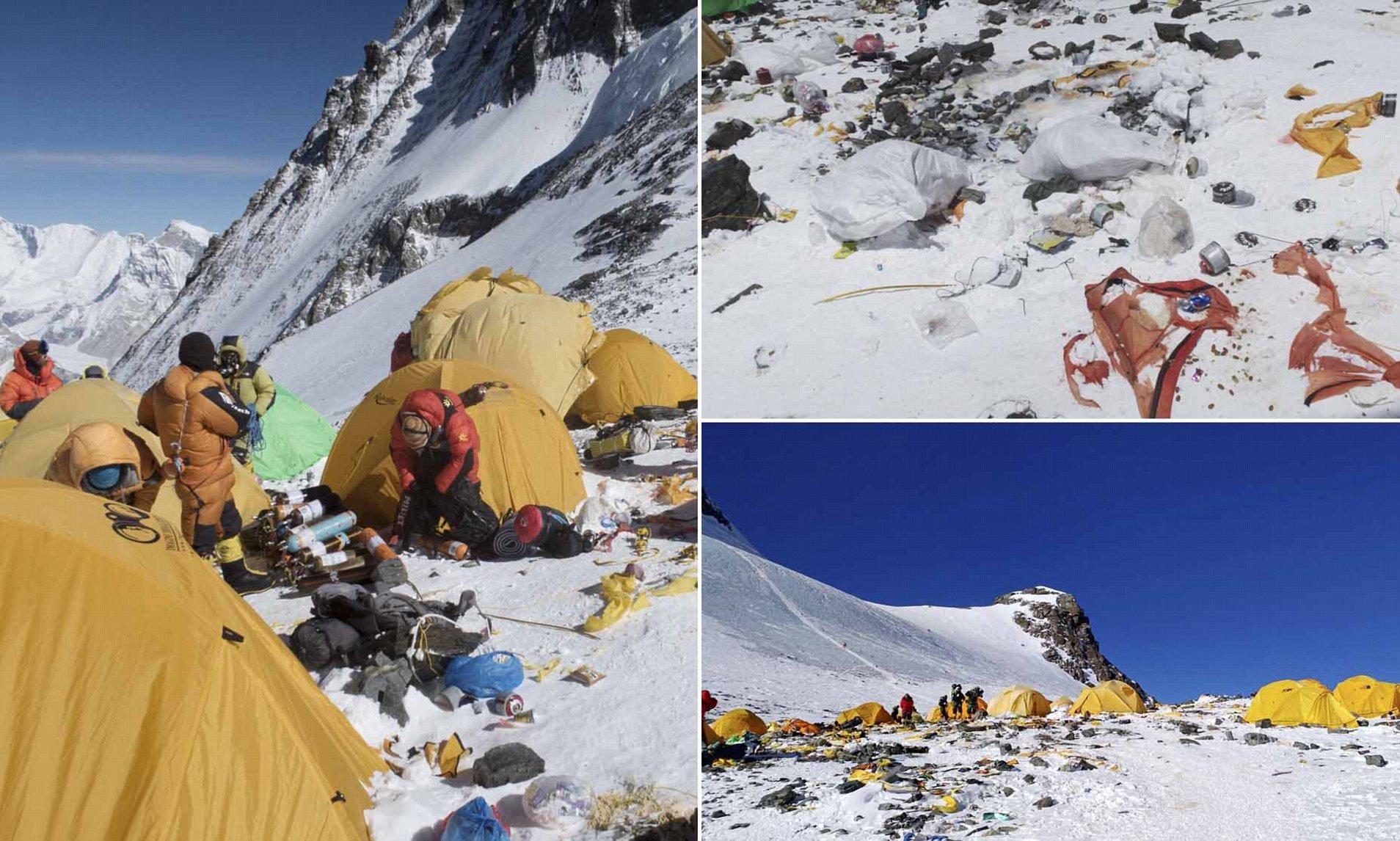 Горы мусора на горе Джомолунгма