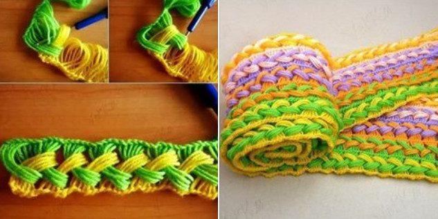 Шикарный шарф, связанный на линейке