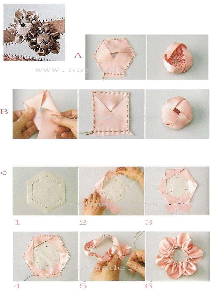 Как делать цветы из ленты схема