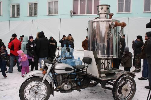 Мотоцикл самовар в музее Ирбитского мотозавода