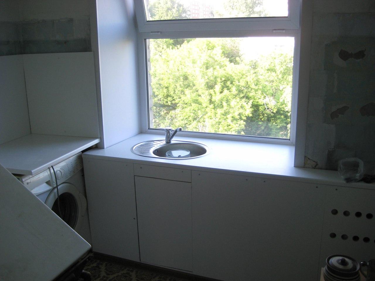 Окно и мойка в подоконнике(кухня в хрущевке, ооочень бюджетный вариант)