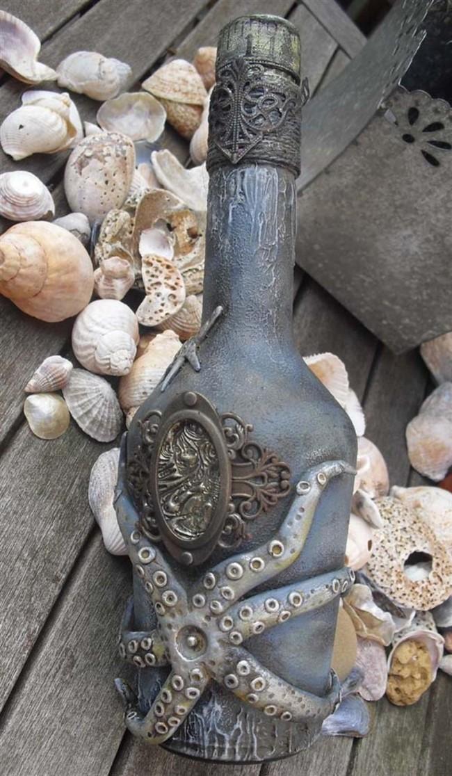 Еще один вариант оформления бутылки в морском стиле