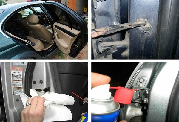 процесс смазки дверей авто