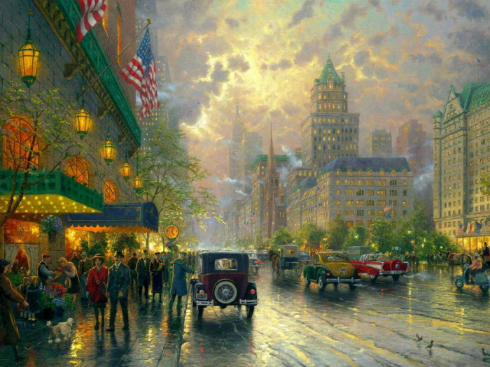 Мокрые улочки... Автор: Thomas Kinkade.