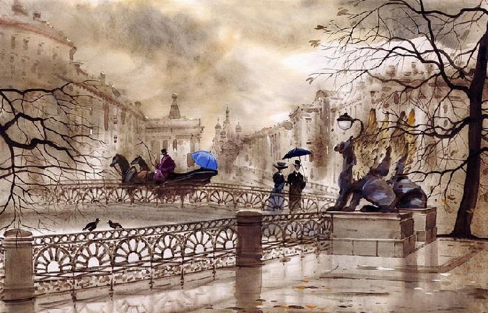 Какие истории из прошлого рассказывают туманные акварели от творческого тандема питерских художников