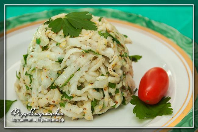 Салат из черной редьки с петрушкой и горчицей