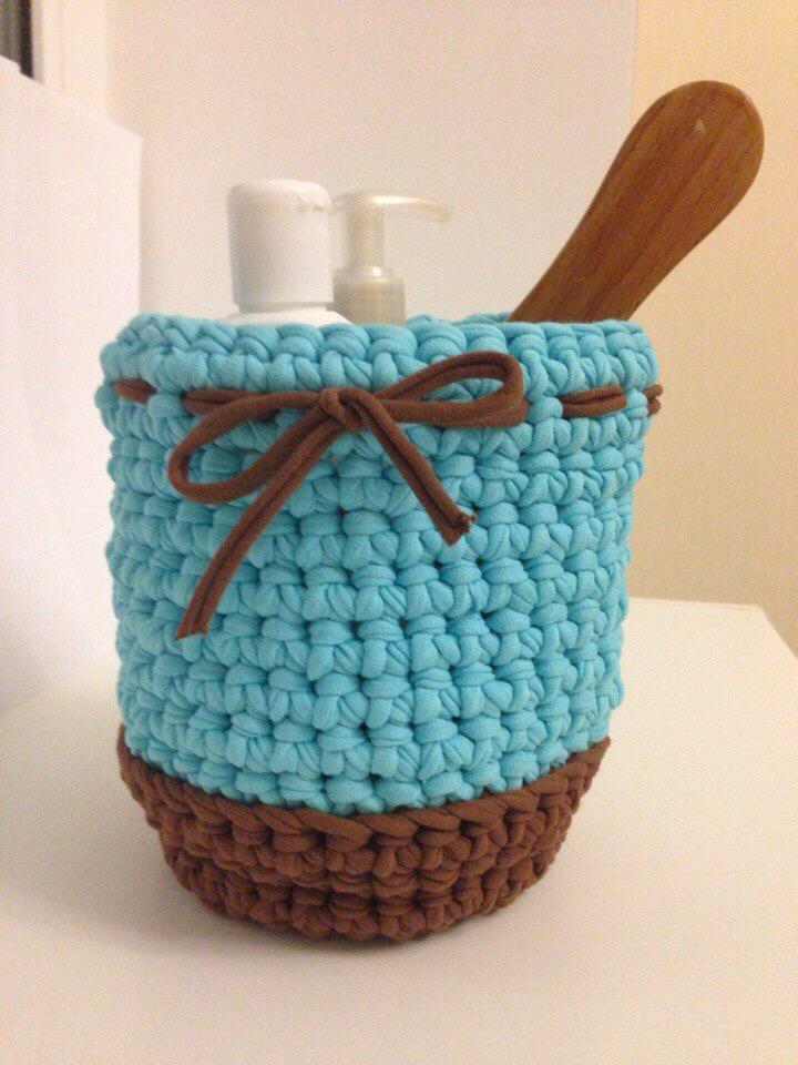Вяжем красивые корзинки из трикотажной пряжи своими руками ...