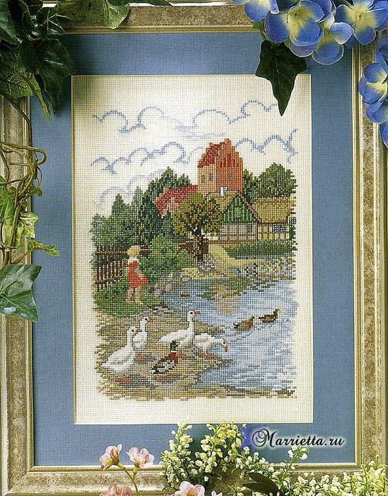 Вышивка крестом «На берегу пруда»(со схемой)