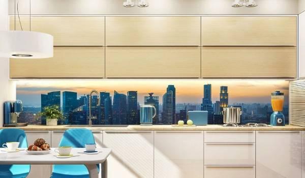 Сочетание фотообоев с мебелью и декором на кухне
