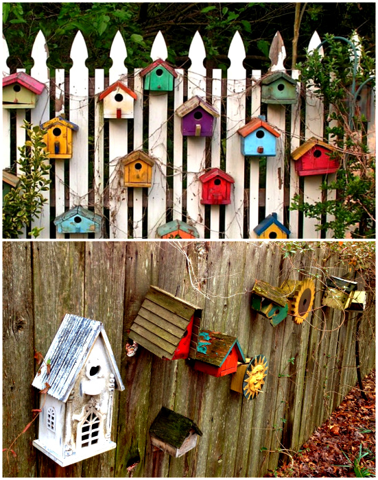 Забор, украшенный скворечниками.