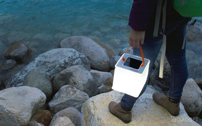 Надувной фонарь с солнечной батарей и зарядкой для гаджетов