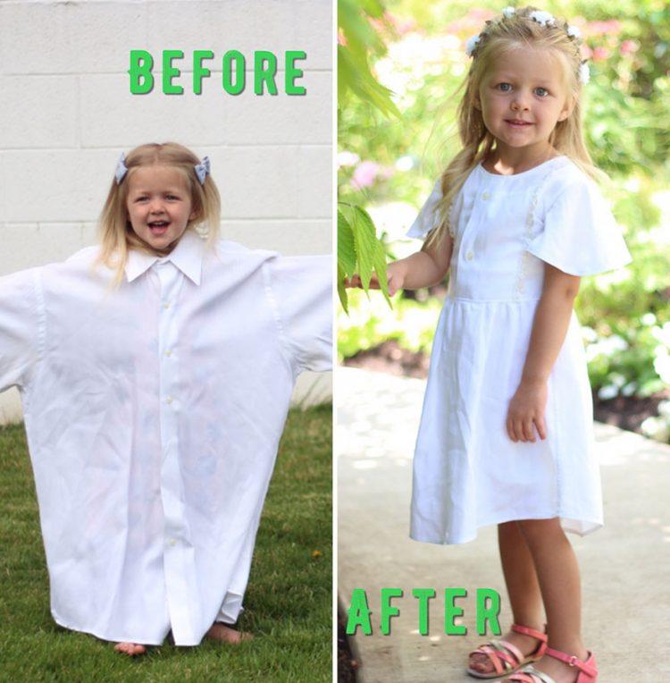 Мама превращает старые рубашки мужа в великолепные дизайнерские наряды для дочери