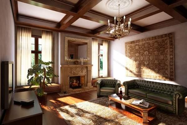 Интерьер гостиной с камином в частном доме - стиль классика