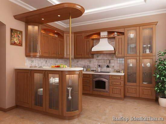Кухня в классическом стиле с барной