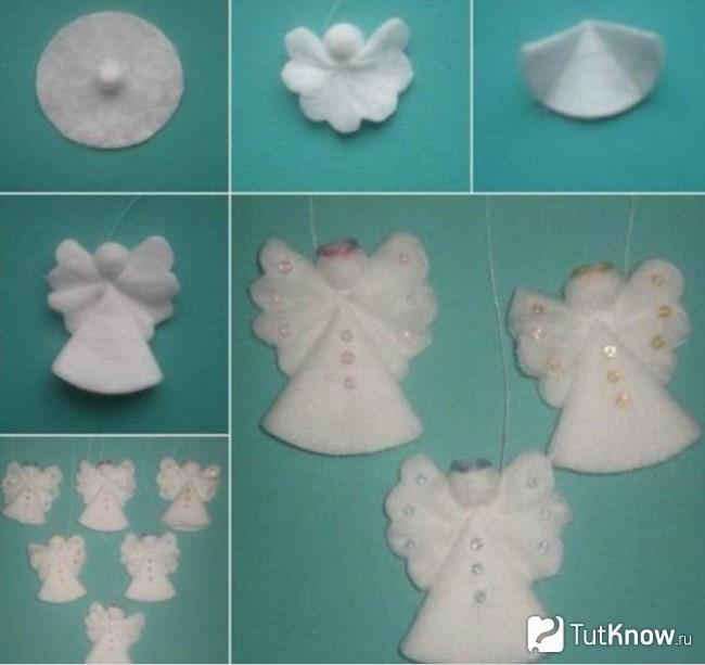 Изготовление ангелочков из ватных дисков