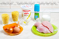 Ингредиенты для запеканки из макарон с курицей