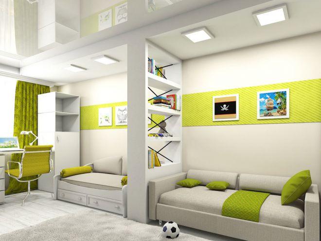 Натяжной потолок в детскую комнату для разнополых детей