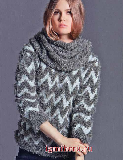 Пуловер и снуд из «меховой» пряжи