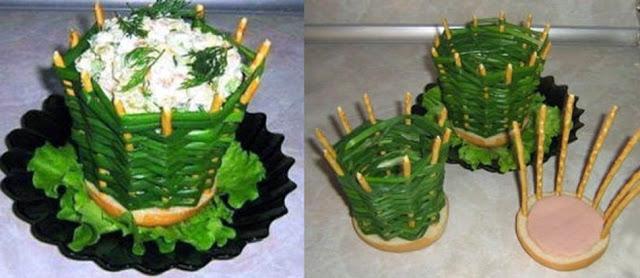 Корзиночка из зеленого лука для порционного салата