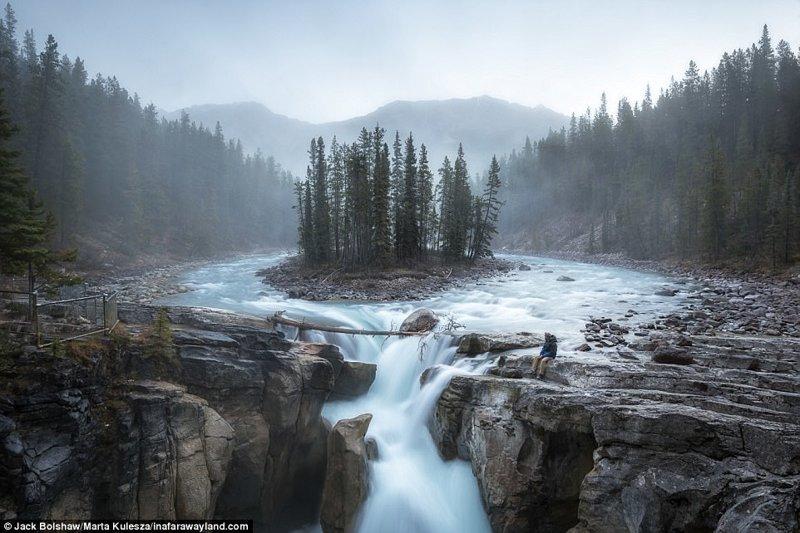 Водопады Санвапта в парке Айсфилдз, Канада в мире, красивые фото, красивый вид, пейзажи, природа, путешествия, фото, фотографы