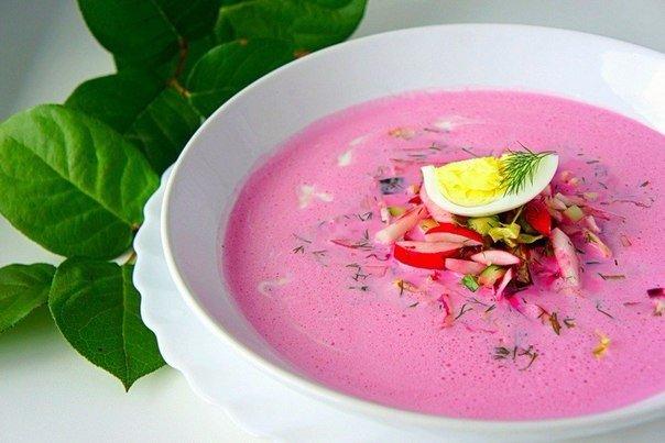 Освежающий летний суп со свеклой и кефиром. Прекрасный диетический вариант