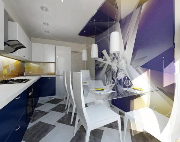 Абстрактные фотообои для кухни в квартире