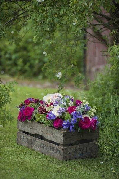 Деревянные ящики и цветы, пр…