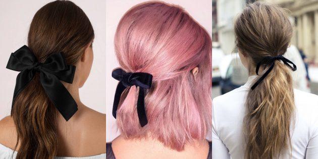 Модные женские причёски 2019: причёска с маленьким чёрным бантом