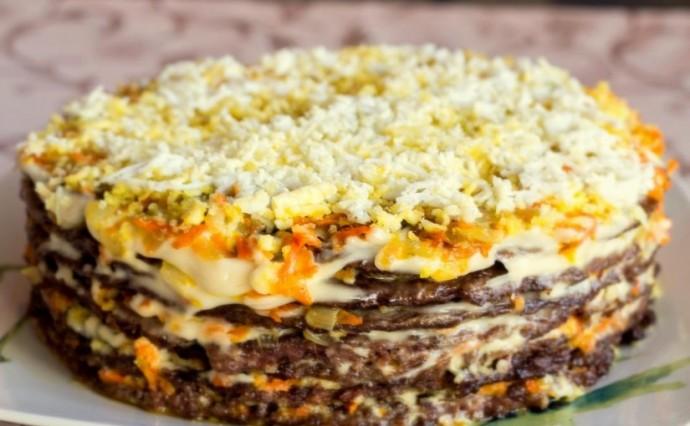 Праздник для живота: Печеночный торт из куриной печени с грибами и морковью.