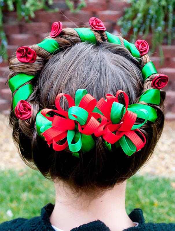 2. Праздничный венок волосы, праздник, прическа, рождество