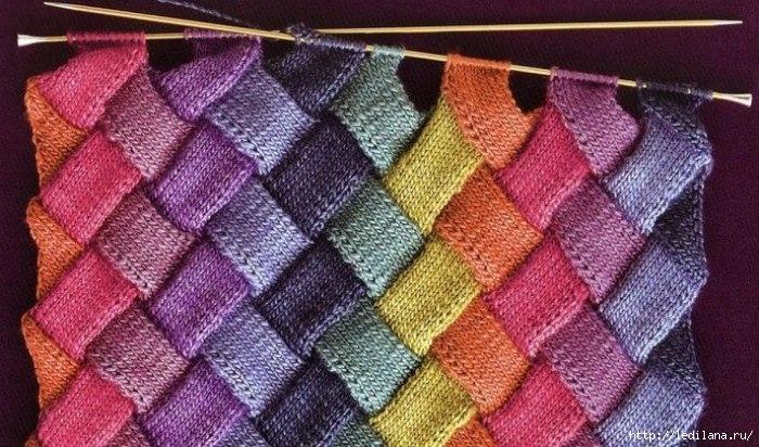 цветное вязание на спицах видио урок время