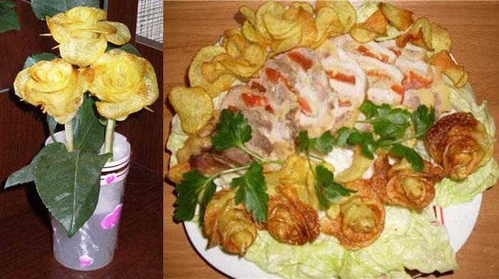 Украшение стола розами из картошки