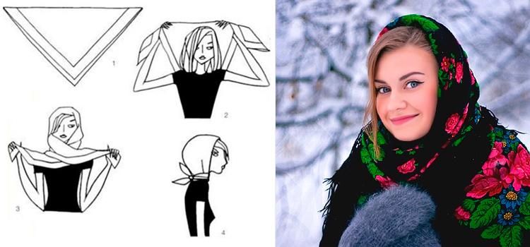 завязываем зимний платок правильно