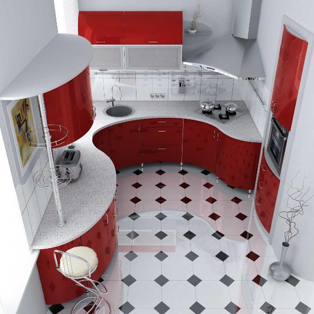 Оригинальный дизайн маленькой угловой кухни