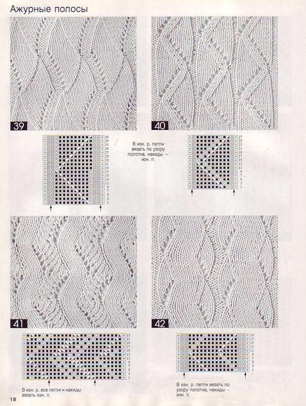 Вязание ажурных полосок спицами 88