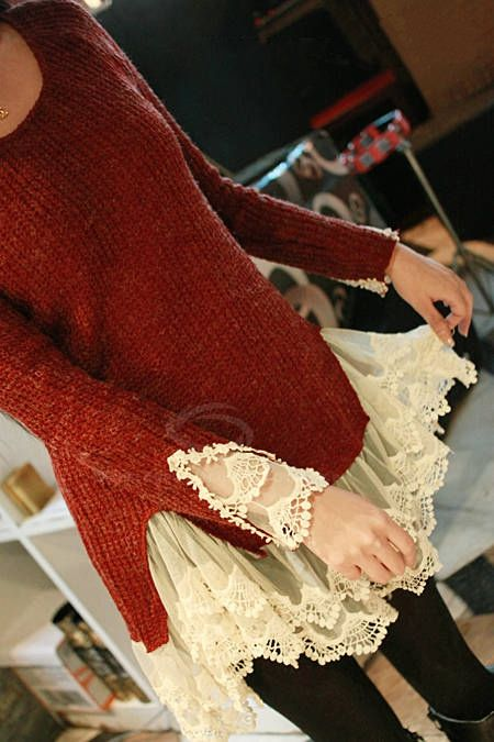 Wholesale Sweet Scoop Neck Solid Color Splicing Lace Design Faux Twinset Long Sleeve Acrylic Fibers Sweater For Women (BROWN,ONE SIZE), Sweater & Cardigan - Rosewholesale.com: