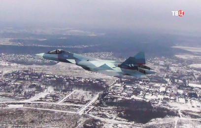 Появилось видео первого полета Су-57 с новым двигателем