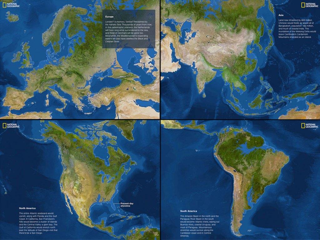 Как будет выглядеть карта мира, если весь лед растает