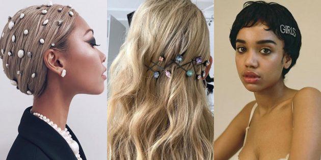 Модные женские причёски 2019: причёски с камнями