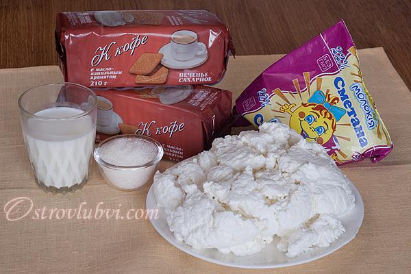 Ингредиенты для торта из печенья и творога